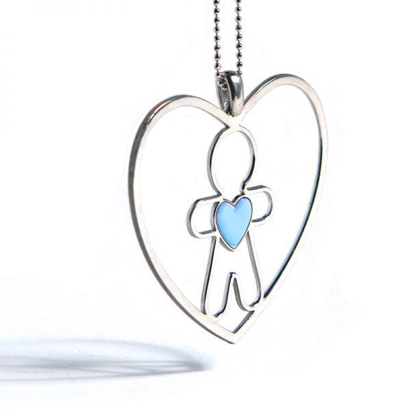 collana cuore di mamma azzurro