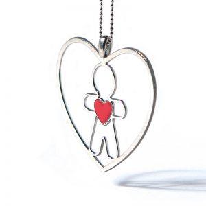 collana cuore di mamma rosso